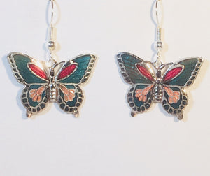 Butterfly Dangle Earrings Stefano Vintage (new) cloisonne silver plate Factory Prices