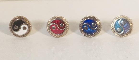 Yin Yang Stefano Post Earrings Vintage ( new ) Cloisonne silver plate Factory Prices Collectible