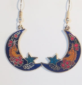 Unicorn on Moon Earrings Stefano Vintage ( new ) Cloisonne dangle (drop) silver plate Collectible