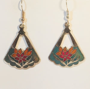 Flower Triangle Stefano Earrings Vintage ( new ) Cloisonne dangle silver plate Factory Prices Collectible