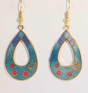 Oval Butterfly Floral Earrings Stefano Vintage ( new ) Cloisonne dangle (drop) gold plate Collectible