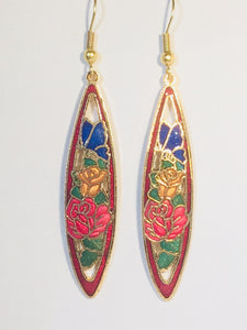Flowers and Butterfly Earrings. Stefano Vintage (new) cloisonne dangle earrings, gold plate Factory Direct  Collectible