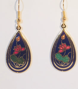 Teardrop Earrings Stefano Vintage (new) cloisonne dangle gold plate Factory Prices Collectible