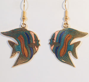 Tropical Fish Dangle Earrings Stefano Vintage new Cloisonne gold plate Factory Prices Collectible