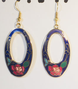 Oval Butterfly & Flower Earrings. Stefano Vintage (new) cloisonne dangle earrings, gold plate Collectible