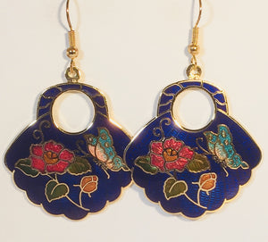Butterfly Fan Earrings. Stefano Vintage (new) cloisonne dangle earrings, gold plate Factory Direct  Collectible