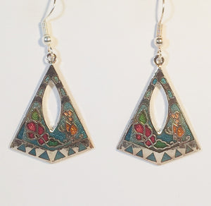 Floral Pyramid Stefano Earrings Vintage ( new ) Cloisonne dangle silver plate Factory Prices Collectible