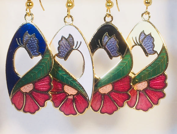 Floral Butterfly Stefano Earrings Vintage ( new ) Cloisonne dangle gold plate Factory Prices Collectible