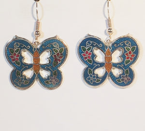Butterfly Stefano Vintage (new) cloisonne dangle earrings silver plate Factory Direct Collectible