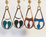 Amelia Petite Stefano Vintage ( new ) Cloisonne dangle earrings gold plate Factory Prices Collectible