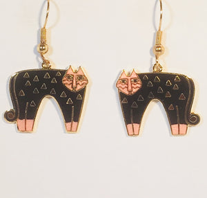 Cat Dangle Earrings Stefano Vintage new Cloisonne gold plate Factory Prices