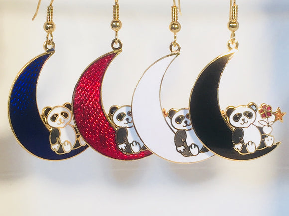 Panda Bear. Stefano Vintage (new) cloisonne dangle earrings, gold plate Collectible
