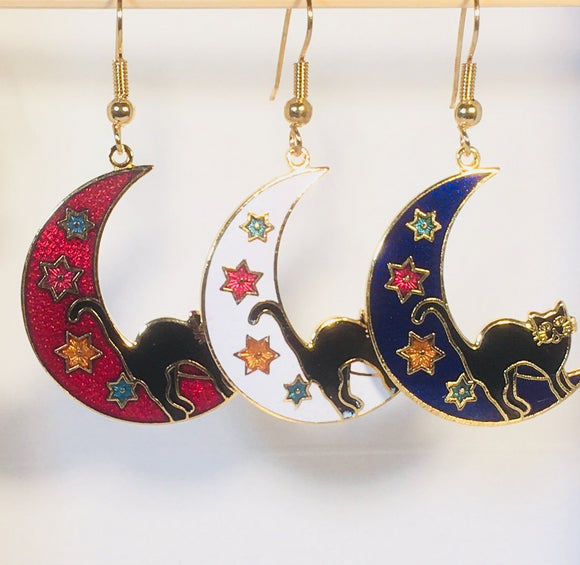 Black Cat on the Moon Earrings Stefano Vintage (new) cloisonne dangle earrings, gold plate Factory Prices Collectible