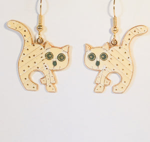 Scat Cat Dangle Earrings Stefano Vintage (new) cloisonne gold plate Factory Prices