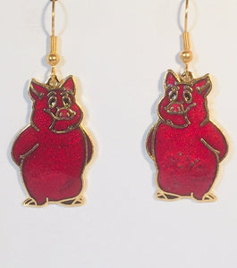 Pig Earrings Stefano Vintage (new) cloisonne dangle earrings, gold plate Factory Prices Collectible