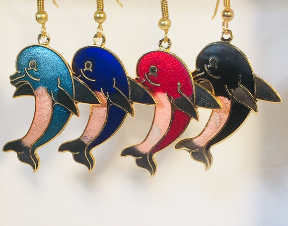 Dolphin Earrings. Stefano Vintage ( new ) Cloisonne dangle earrings, gold plate Factory Prices Collectible