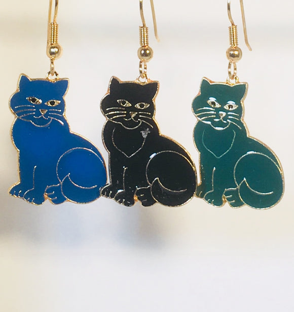 Fluff Cat Dangle Earrings Stefano Vintage ( new ) Cloisonne gold plate Factory Prices