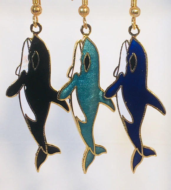 Whale Earrings Stefano Vintage ( new ) Cloisonne dangle earrings, gold plate Factory Prices Collectible