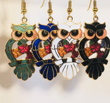 Owl Dangle Earrings Stefano Vintage (new) cloisonne gold plate Factory Prices