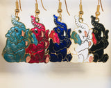 Happy Elephant Stefano Earrings Vintage ( new ) Cloisonne dangle gold plate Factory Prices Collectible