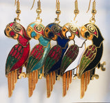 Margaritaville Parrot Dangle Earrings Stefano Vintage (new) cloisonne gold plate Factory Prices Collectible