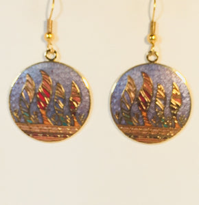 Southwest Feather Round Earrings Stefano Vintage ( new ) Cloisonne dangle (drop) gold plate Collectible