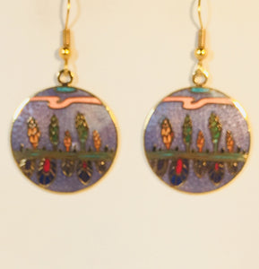 Southwest Mirror Round Earrings  Stefano Vintage ( new ) Cloisonne dangle (drop) gold plate Collectible