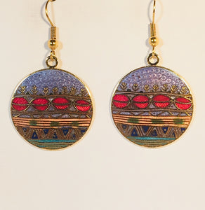 Southwest Sunset Round Earrings Stefano Vintage ( new ) Cloisonne dangle (drop) gold plate Collectible