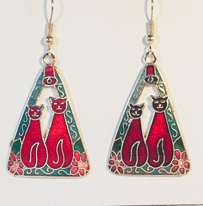 Cat Dangle Earrings Stefano Vintage ( new ) Cloisonne silver plate Factory Prices