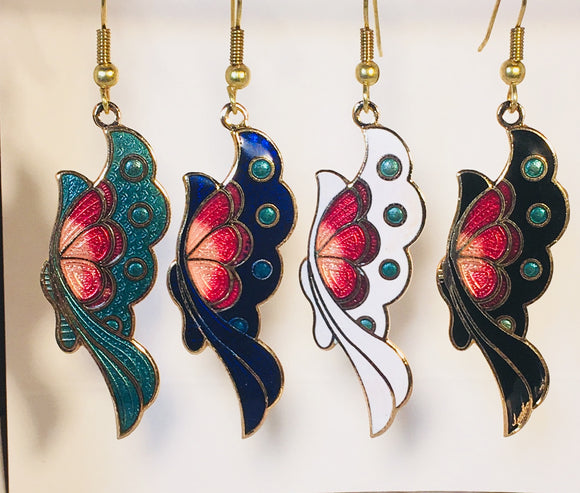 Elegant Butterfly Dangle Earrings Stefano Vintage ( new ) Cloisonne gold plate Factory Prices Collectible