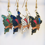 Butterfly Dangle Earrings Stefano Vintage Cloisonne (new) gold plate Factory Prices