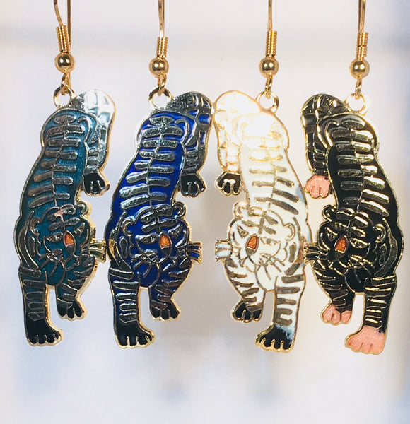 Bengal Tiger Stefano Earrings Vintage ( new ) Cloisonne dangle gold plate Factory Prices Collectible