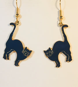 Dancing Cat Dangle Earrings Stefano Vintage (new) cloisonne gold plate Factory Prices