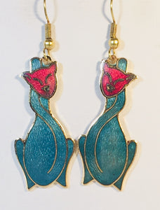 Cat Earrings Stefano Vintage (new) cloisonne gold plate Factory Direct
