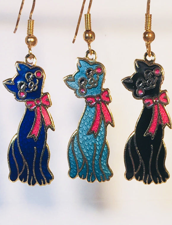 Happy Cat Earrings. Stefano Vintage ( new ) Cloisonne dangle earrings, gold plate Factory Prices Collectible