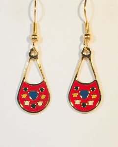 Petite Colorful Dangle Earrings Stefano Vintage ( new ) Cloisonne gold plate Factory Prices Collectible