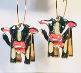 COW hoop earrings Stefano Vintage new cloisonne gold plate Factory Prices