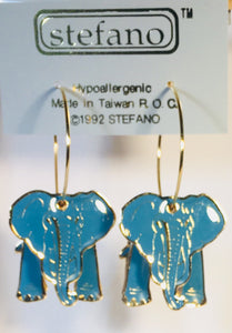Elephant Hoop Earrings Stefano Vintage new gold plate Factory Prices Collectible