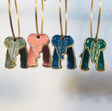 Small Elephant Stefano Vintage (new) cloisonne hoop earrings, gold plate, Factory Prices Collectible