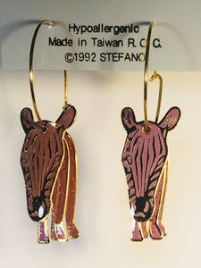 Zebra Stefano Vintage cloisonne hoop earrings gold plate Factory Prices Collectible