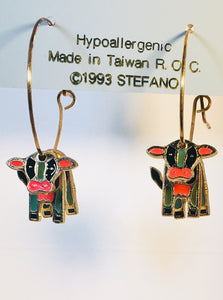 Cow Stefano Vintage (new) cloisonne hoop earrings, gold plate, Factory Prices Collectible