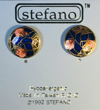 Stefano Post Earrings Vintage ( new ) Cloisonne silver plate Factory Prices Collectible
