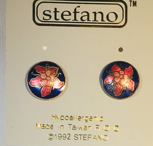 Round Flower Stefano Post Earrings Vintage ( new ) Cloisonne silver plate Factory Prices Collectible