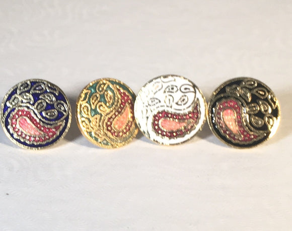 Round Paisley Stefano Post Earrings Vintage ( new ) Cloisonne gold plate Factory Prices Collectible