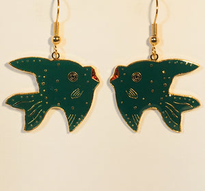 Dreamy Fish Stefano Earrings Vintage ( new ) Cloisonne dangle gold plate Factory Prices Collectible