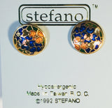 Sonora Round Post Earrings Vintage ( new ) Cloisonne gold plate Factory Prices Collectible