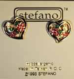 Floral Heart Post Earrings Vintage ( new ) Cloisonne gold plate Factory Prices Collectible