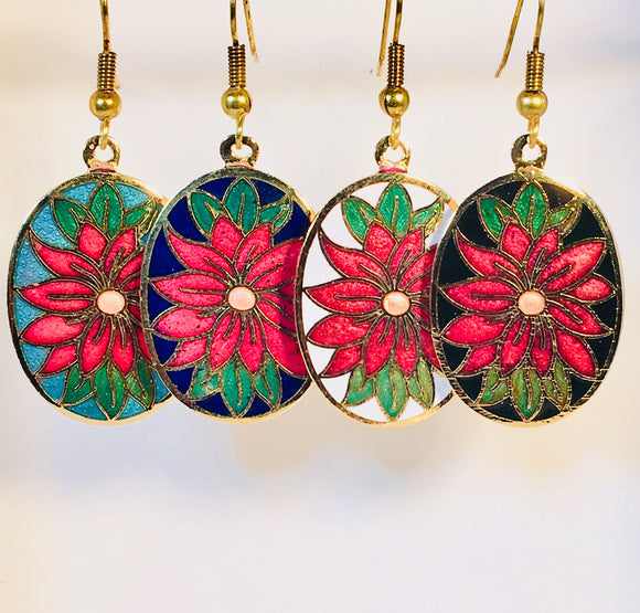Flower Stefano Vintage (new) cloisonne dangle earrings gold plate Factory Direct Collectible