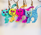Whimsical Cat Dangle Earrings Handmade by Stefano Bali Artisans Vintage  Factory Prices Collectible
