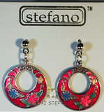Small Round Stefano Vintage ( new ) Cloisonne post with drop earrings silver plate Factory Prices Collectible
